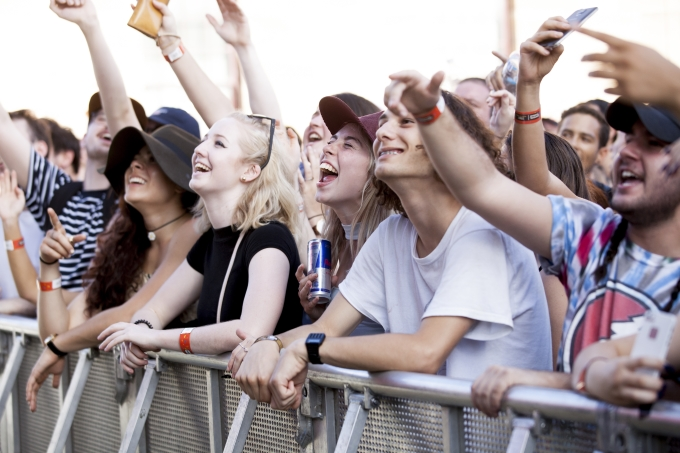 Spectators enjoy the performances at the Red Bull Music Academy/Future Classic Stage at St Jeromes Laneway Festival in Sydney, Australia on February 7th, 2016